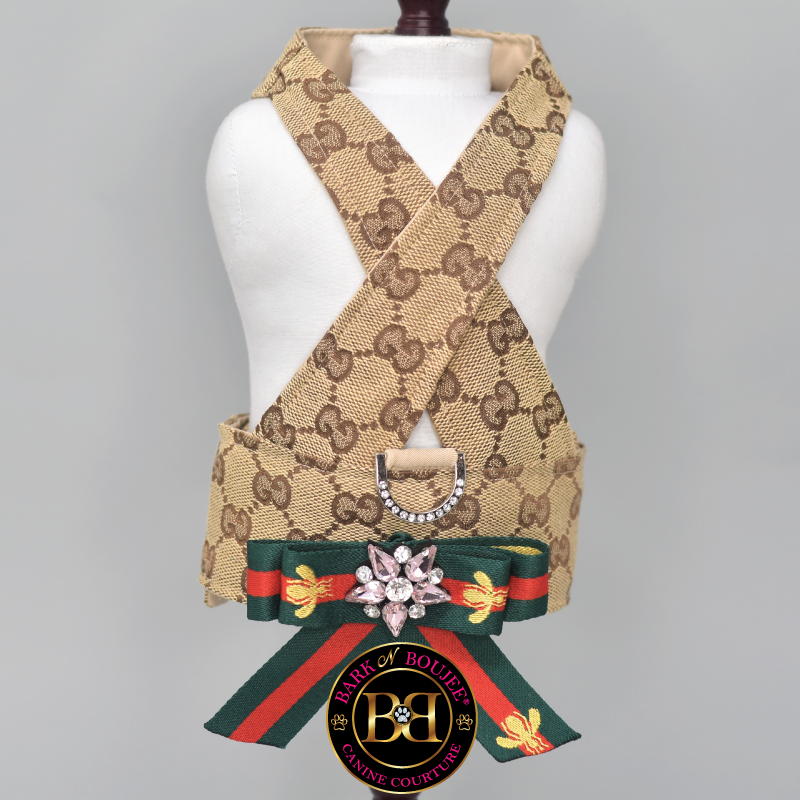 Repurposed Monogram Crisscross Dog Harness with Bow Brooch.