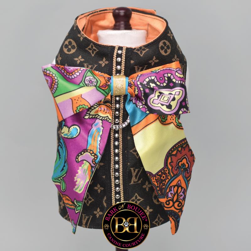 Repurposed Monogram Dog Harness, Luxury Couture Boutique Designer